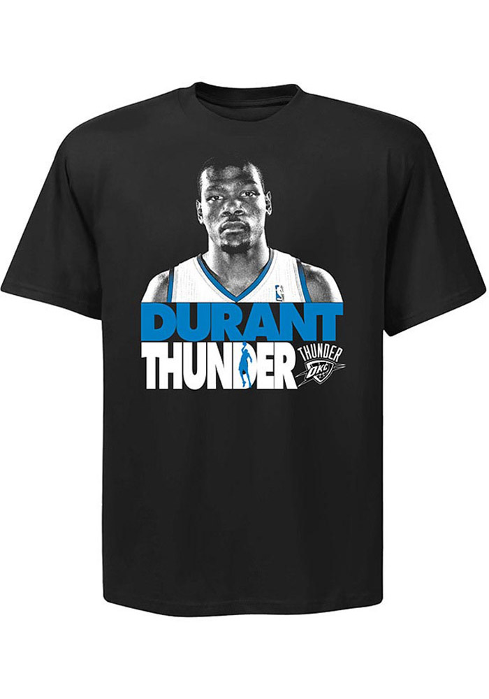 Kevin Durant Oklahoma City Thunder Black Game Face Photo Short Sleeve Player T Shirt - Image 1