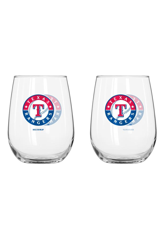 Texas Rangers 16Oz Curved Stemless Wine Glass - Image 1
