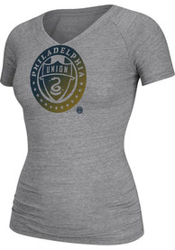 Adidas Philadelphia Union Womens Grey Halftone Tri-Blend V-Neck