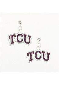 TCU Horned Frogs Bling Womens Earrings