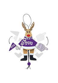 TCU Horned Frogs Wooden Cheering Reindeer Ornament