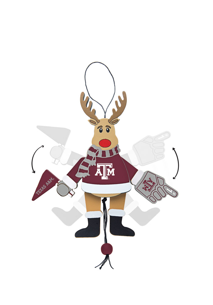 Texas A&M Aggies Wooden Cheering Reindeer Ornament - Image 1