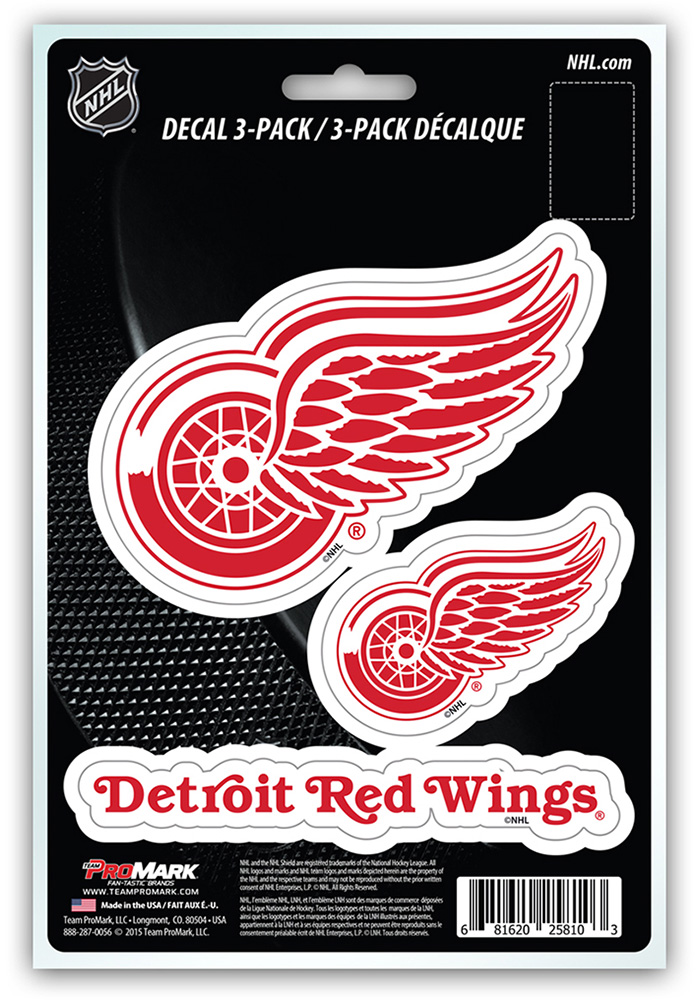 Detroit Red Wings 3pk Team Logo Auto Decal - Red - Image 1