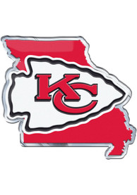 Sports Licensing Solutions Kansas City Chiefs State Shape Car Emblem - Red