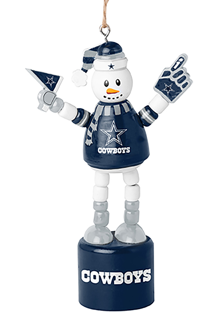 Dallas Cowboys Push Puppet Snowman Ornament - Image 1