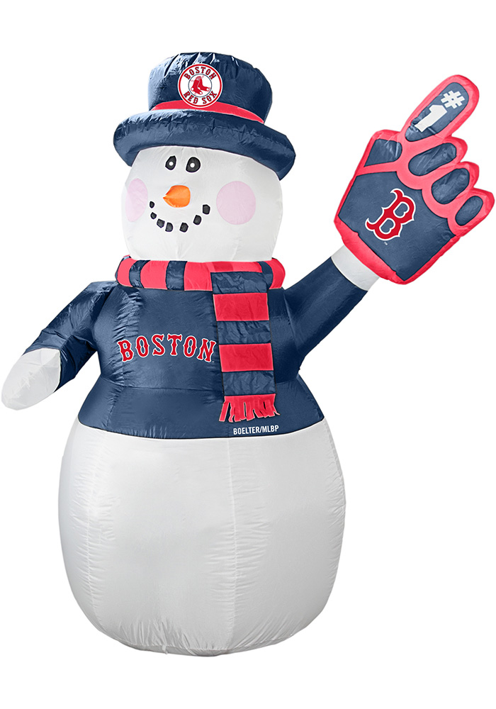 Boston Red Sox White Outdoor Inflatable 7 Ft Snowman - Image 1