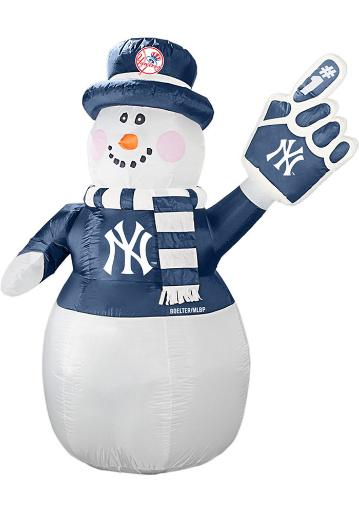 New York Yankees White Outdoor Inflatable 7 Ft Snowman - Image 1