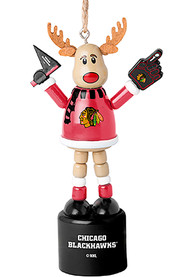Chicago Blackhawks Push Puppet Reindeer Ornament
