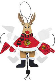Chicago Blackhawks Cheering Reindeer Ornament