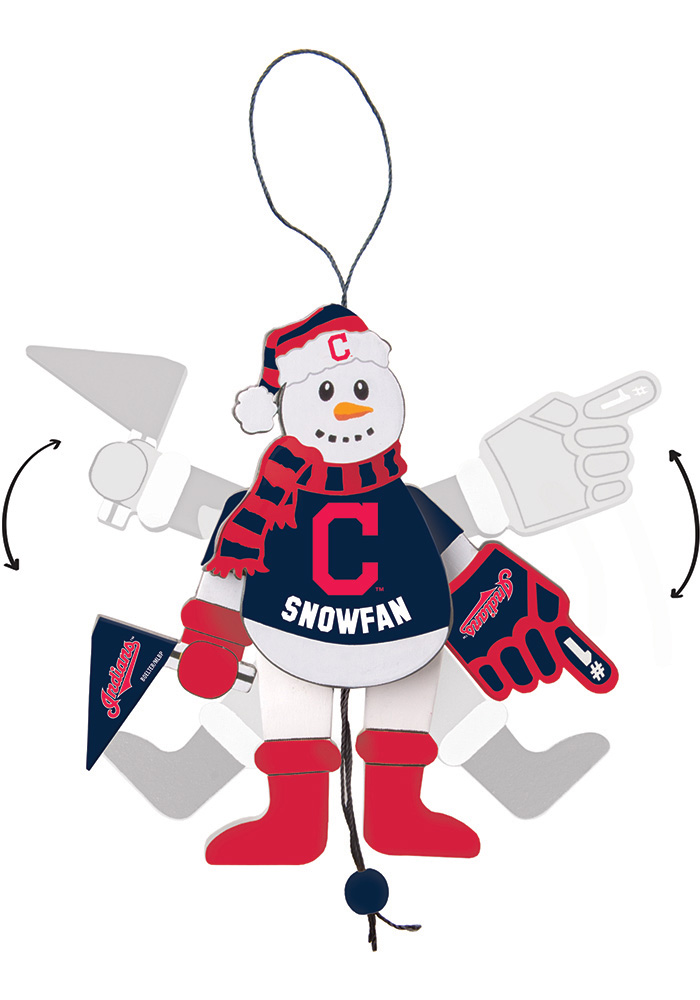 Cleveland Indians Cheering Snowman Ornament - Image 1