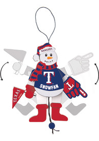 Texas Rangers Cheering Snowman Ornament