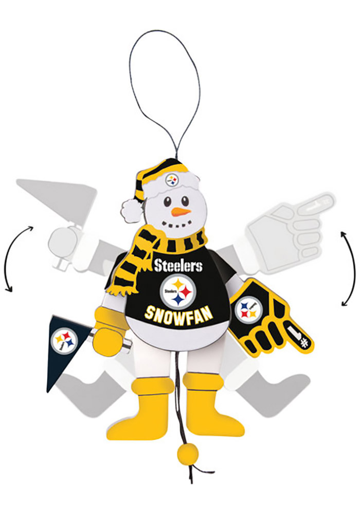 Pittsburgh Steelers Cheering Snowman Ornament - Image 1
