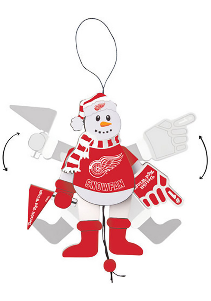 Detroit Red Wings Cheering Snowman Ornament - Image 1