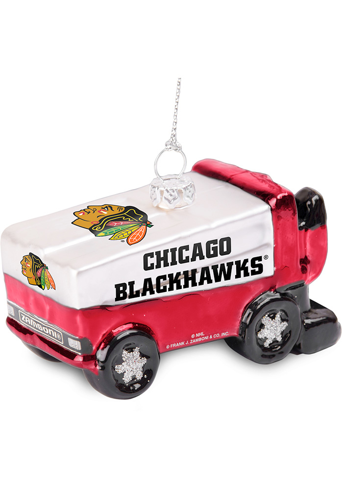 Chicago Blackhawks Glass Zamboni Ornament - Image 1