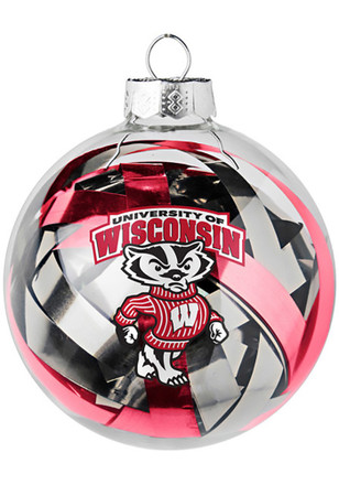 Wisconsin Badgers Tinsel Ball Ornament