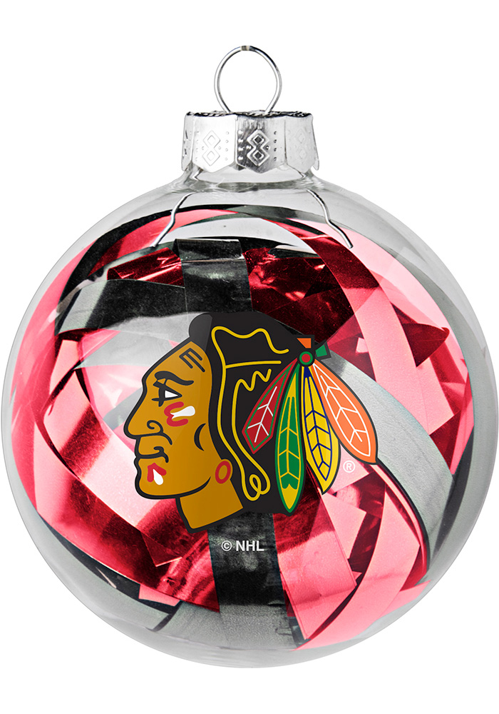 Chicago Blackhawks Tinsel Ball Ornament - Image 1
