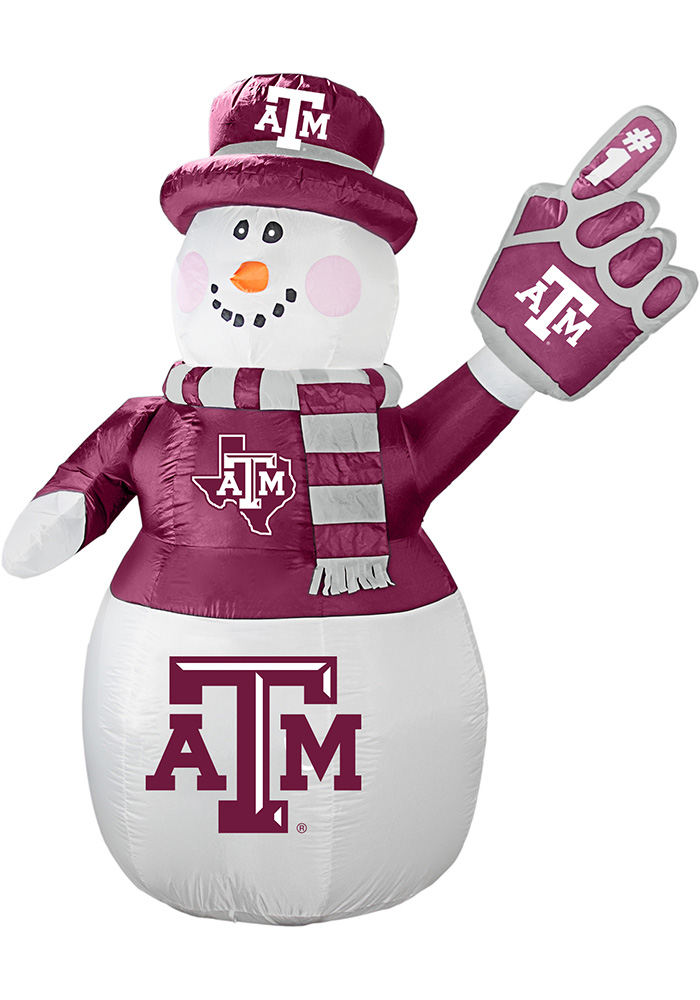 Texas A&M Aggies White Outdoor Inflatable 7 Ft Snowman - Image 1