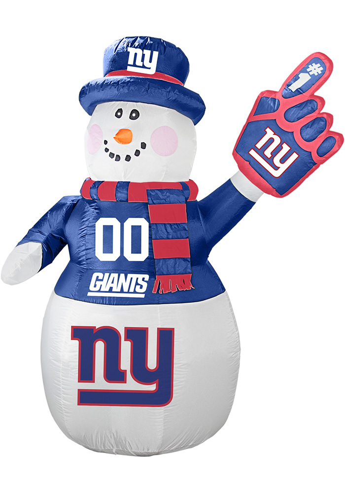New York Giants White Outdoor Inflatable 7 Ft Snowman - Image 1
