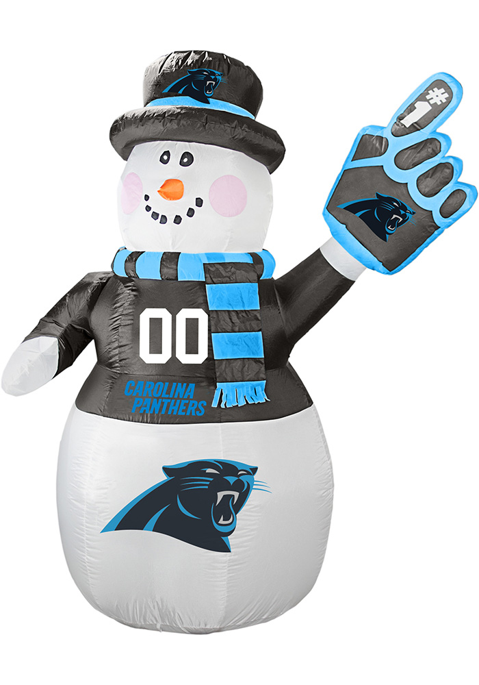 Carolina Panthers White Outdoor Inflatable 7 Ft Snowman - Image 1