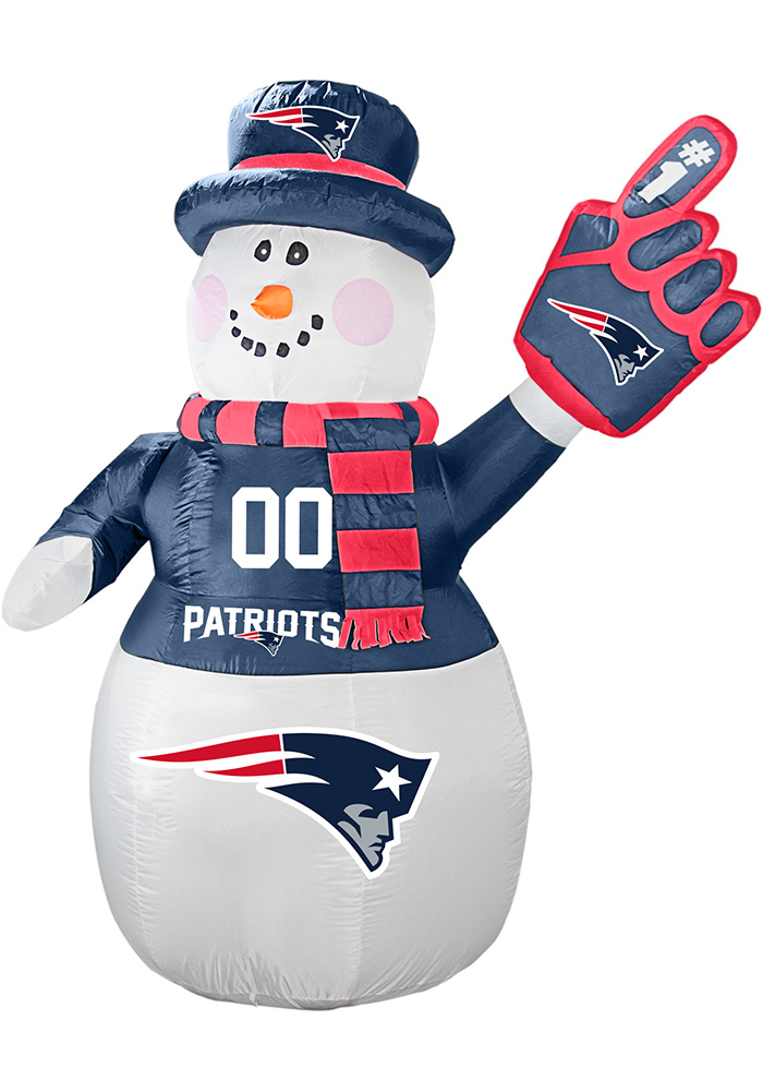 New England Patriots White Outdoor Inflatable 7 Ft Snowman - Image 1