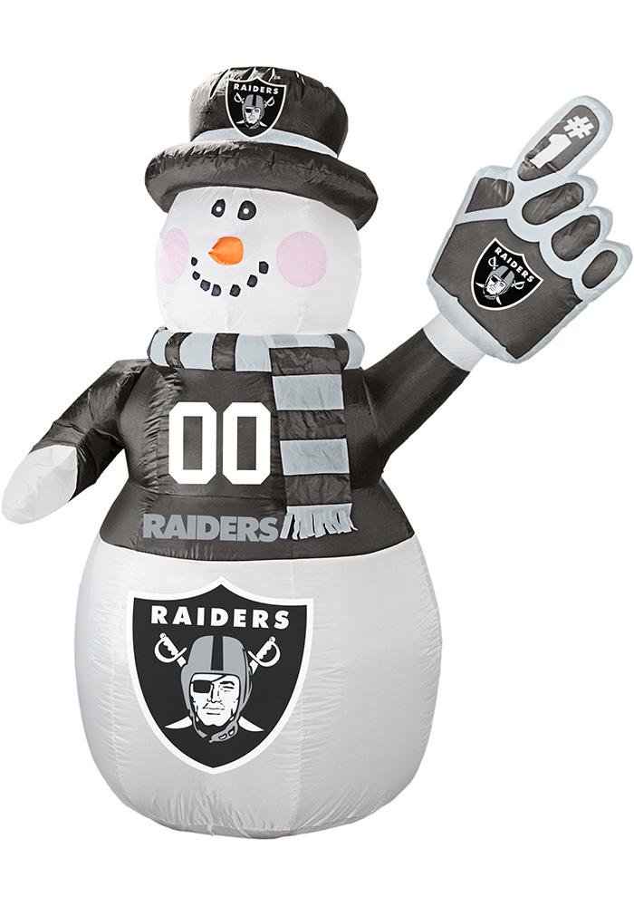Oakland Raiders White Outdoor Inflatable 7 Ft Snowman - Image 1
