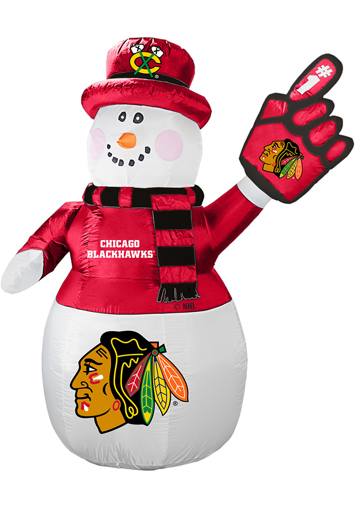 Chicago Blackhawks White Outdoor Inflatable 7 Ft Snowman - Image 1
