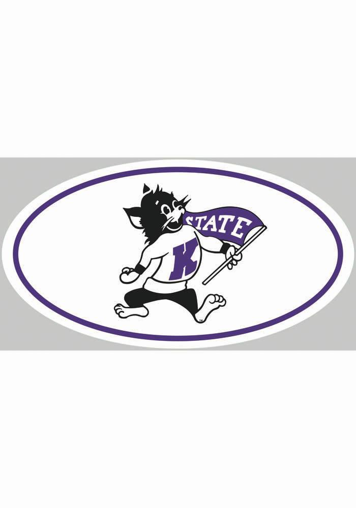 K-State Wildcats 4x7 Willie Euro Auto Decal - White