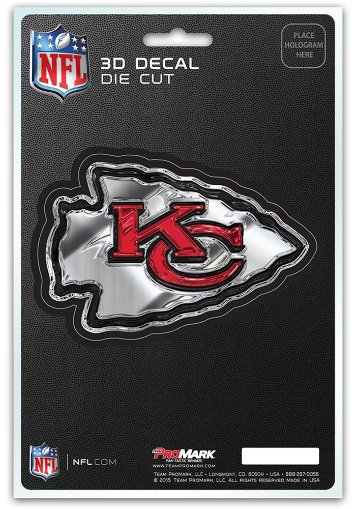 Sports Licensing Solutions Kansas City Chiefs 5x7 inch 3D Auto Decal - Red - Image 1