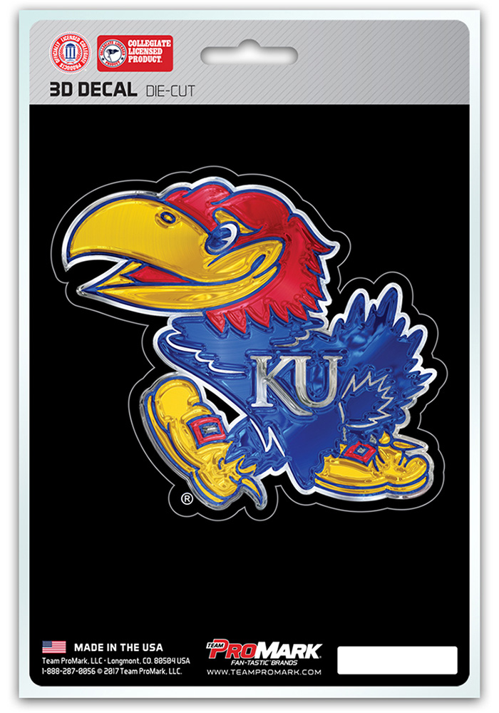 Sports Licensing Solutions Kansas Jayhawks 5x7 inch 3D Auto Decal - Blue - Image 1