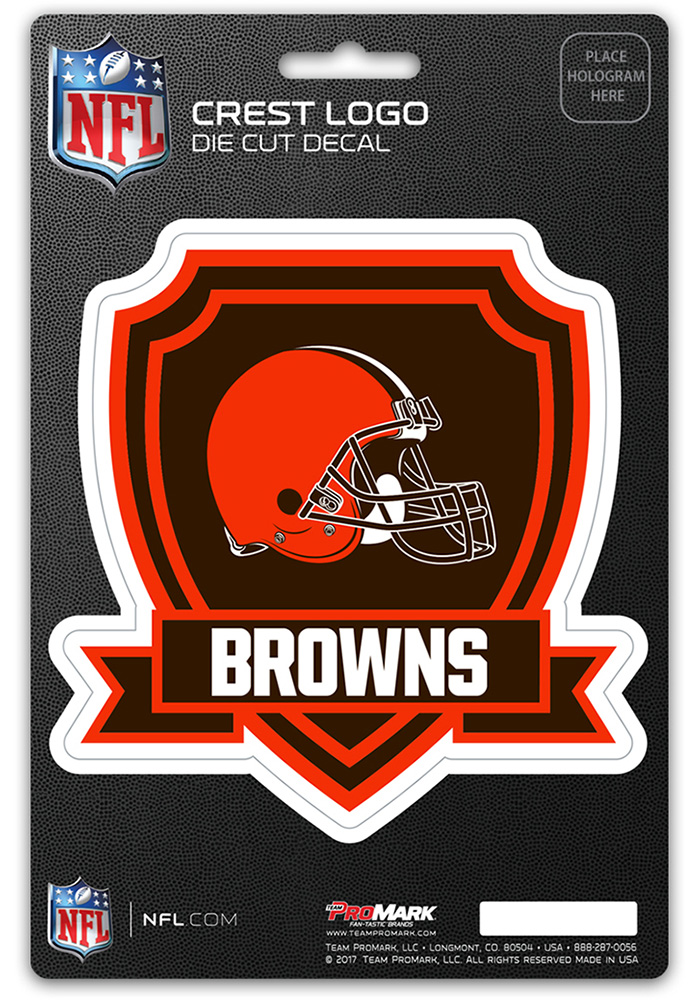 Cleveland Browns 5x7.5 Shield Auto Decal - Brown - Image 1