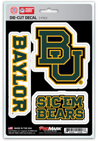 Sports Licensing Solutions Baylor Bears 5x7 inch 3 Pack Die Cut Auto Decal - Green