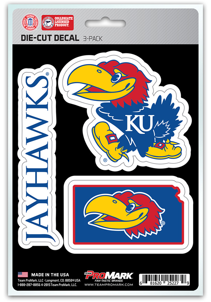 Sports Licensing Solutions Kansas Jayhawks 5x7 inch 3 Pack Die Cut Auto Decal - Blue - Image 1