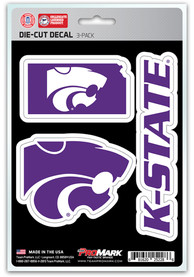 Sports Licensing Solutions K-State Wildcats 5x7 inch 3 Pack Die Cut Auto Decal - Purple