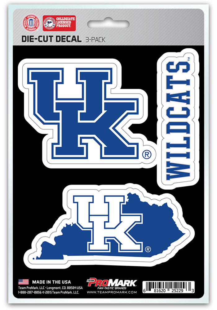 Kentucky Wildcats 5x7.5 3-Pack Die-Cut Auto Decal - Blue - Image 1