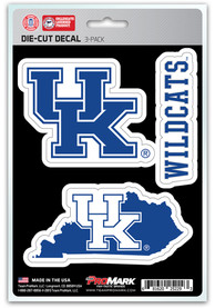 Sports Licensing Solutions Kentucky Wildcats 5x7.5 3-Pack Die-Cut Auto Decal - Blue