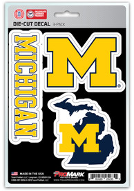 Sports Licensing Solutions Michigan Wolverines 5x7 inch 3 Pack Die Cut Auto Decal - Navy Blue