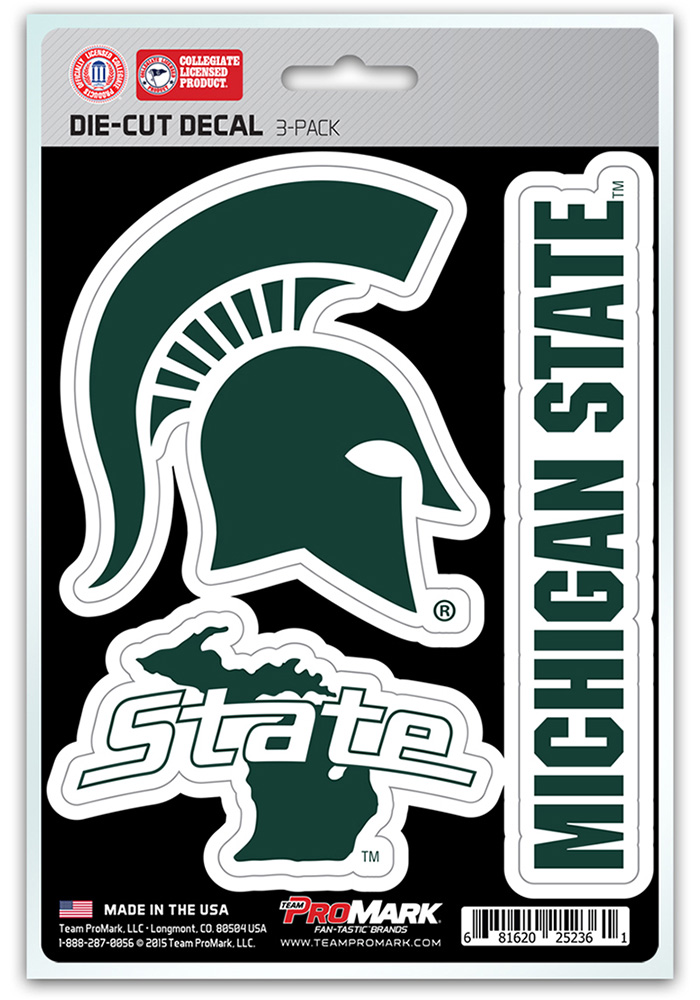 Sports Licensing Solutions Michigan State Spartans 5x7 inch 3 Pack Die Cut Auto Decal - Green