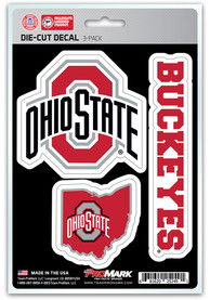 Sports Licensing Solutions Ohio State Buckeyes 5x7 inch 3 Pack Die Cut Auto Decal - Silver