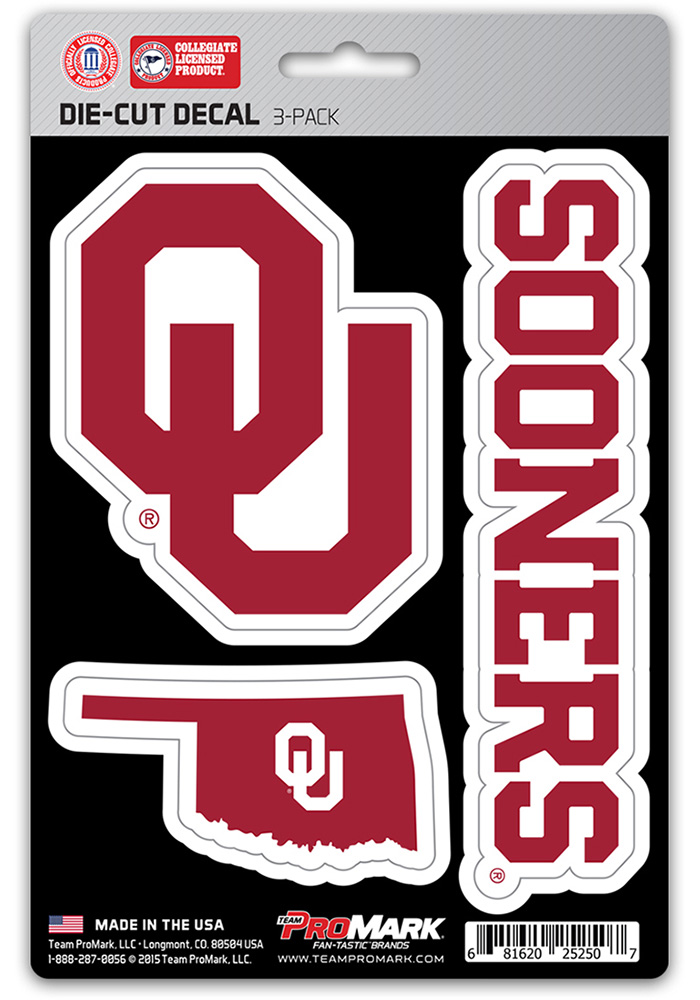 Sports Licensing Solutions Oklahoma Sooners 5x7 inch 3 Pack Die Cut Auto Decal - Crimson