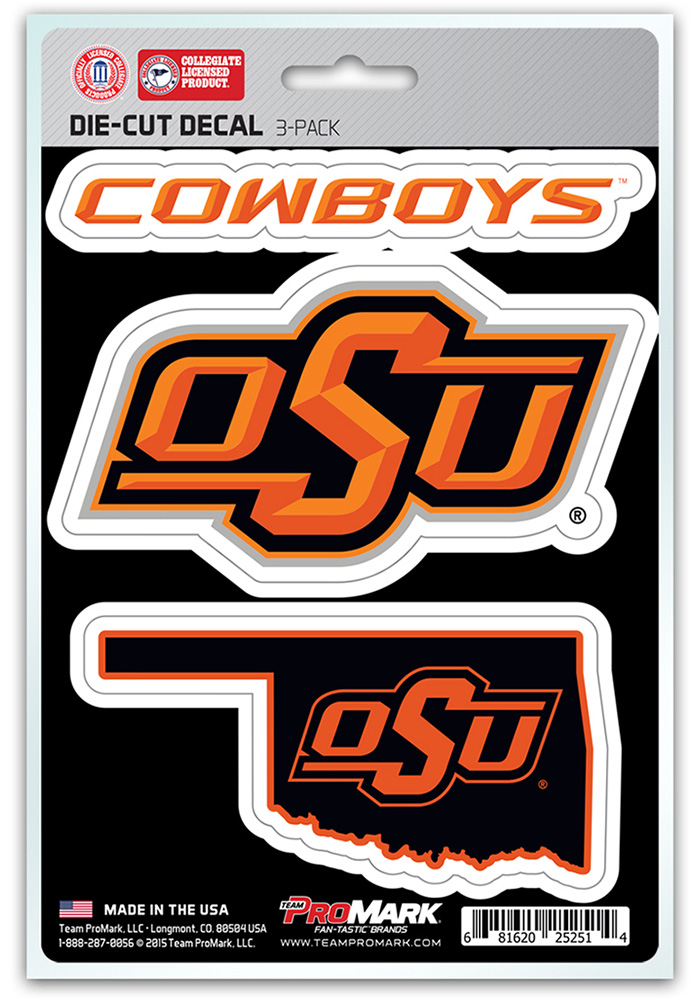 Oklahoma State Cowboys 5x7.5 3-Pack Die-Cut Auto Decal - Orange - Image 1