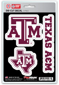 Sports Licensing Solutions Texas A&M Aggies 5x7 inch 3 Pack Die Cut Auto Decal - Maroon