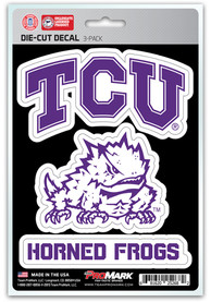 Sports Licensing Solutions TCU Horned Frogs 5x7 inch 3 Pack Die Cut Auto Decal - Purple
