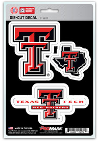 Sports Licensing Solutions Texas Tech Red Raiders 5x7 inch 3 Pack Die Cut Auto Decal - Red