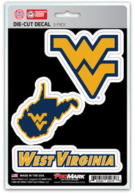 Sports Licensing Solutions West Virginia Mountaineers 5x7 inch 3 Pack Die Cut Auto Decal - Navy Blue