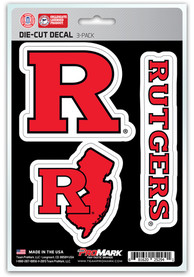 Sports Licensing Solutions Rutgers Scarlet Knights 5x7.5 3-Pack Die-Cut Auto Decal - Red