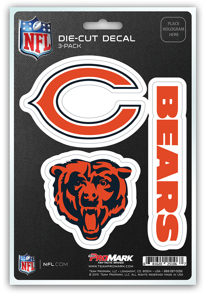 Chicago Bears 5x7.5 3-Pack Die-Cut Auto Decal - Navy Blue - Image 1