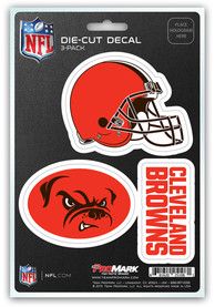 Sports Licensing Solutions Cleveland Browns 5x7 inch 3 Pack Die Cut Auto Decal - Orange