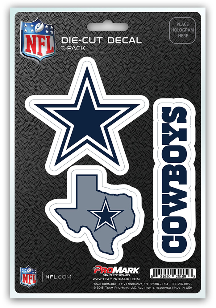 Dallas Cowboys 5x7.5 3-Pack Die-Cut Auto Decal - Navy Blue - Image 1
