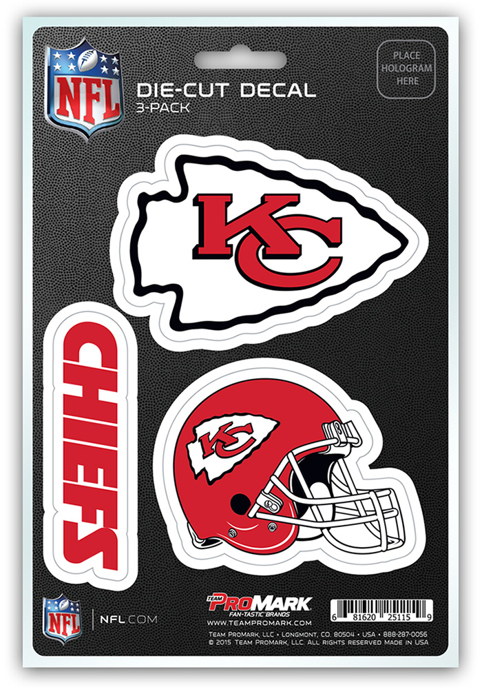 Sports Licensing Solutions Kansas City Chiefs 5x7 inch 3 Pack Die Cut Auto Decal - Red - Image 1