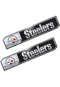 Sports Licensing Solutions Pittsburgh Steelers 1.75x8.25 inch 2 Pack Truck Edition Car Emblem - Black